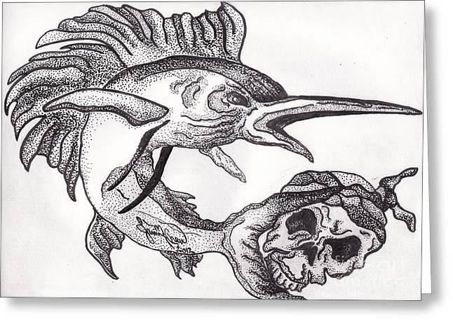 Black Marlin Greeting Cards - A Pirates Life For Me II Greeting Card by Authentic Occurrence
