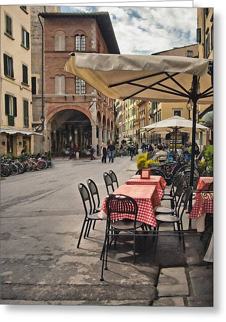 Italian Cafe Greeting Cards - A Pisa Cafe Greeting Card by Sharon Foster
