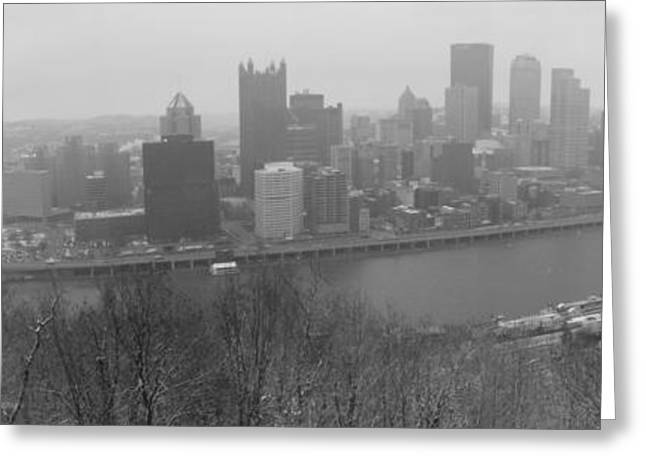 A Pittsburgh Winter Day Greeting Card by David Bearden