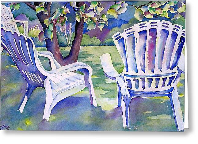 Recently Sold -  - Lawn Chair Greeting Cards - A Place in the Shade Greeting Card by Barbara Jung