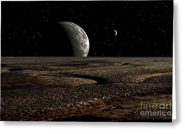 Exoplanet Greeting Cards - A Planet And Its Moon Are Dimly Lit Greeting Card by Frank Hettick