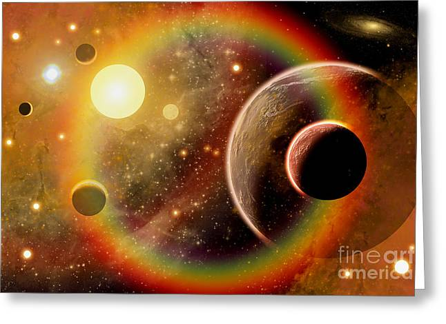 Illustration Technique Greeting Cards - A Planetary System In The Outer Limits Greeting Card by Mark Stevenson