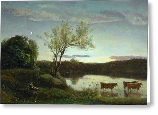 Rural Landscapes Greeting Cards - A Pond with three Cows and a Crescent Moon Greeting Card by Jean Baptiste Camille Corot