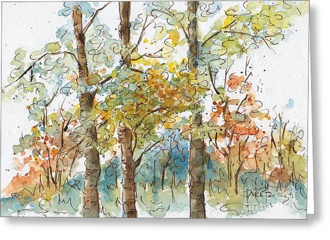 Pat Katz Greeting Cards - A Poplar Treeo Greeting Card by Pat Katz