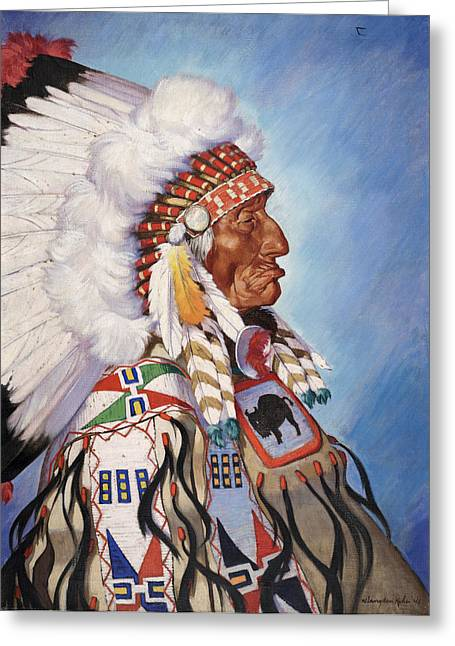 North American Indian Ethnicity Greeting Cards - A Portrait Of 95-year Old Sioux Chief Greeting Card by W. Langdon Kihn