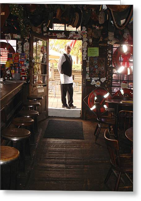 Saloons Pyrography Greeting Cards - A portrait of a bartender Greeting Card by Hiroko Sakai