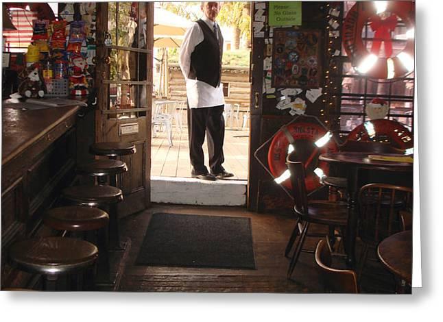 A portrait of a bartender Greeting Card by Hiroko Sakai
