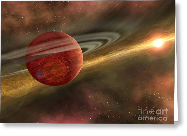 Disk Greeting Cards - A Possible Newfound Planet Spins Greeting Card by Stocktrek Images
