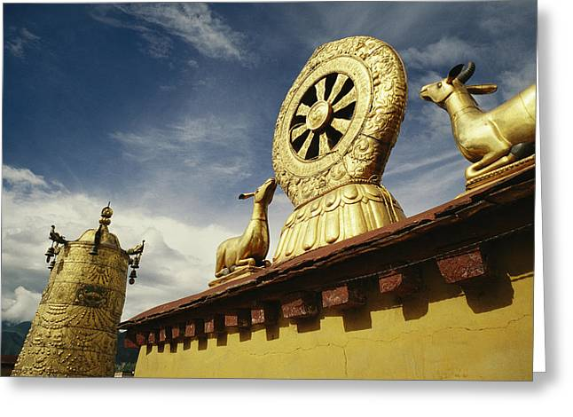 Gilding Greeting Cards - A Prayer Wheel, Deer And Wheel Greeting Card by Justin Guariglia