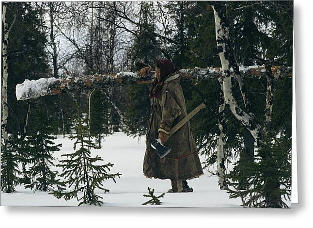 Young Adult Women Greeting Cards - A Pregnant Nenets Woman Carries A Small Greeting Card by Maria Stenzel