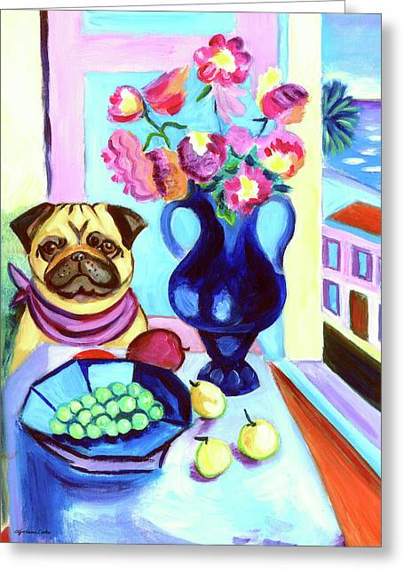 Puppies Paintings Greeting Cards - A Pugs Dinner at Henris - Pug Greeting Card by Lyn Cook
