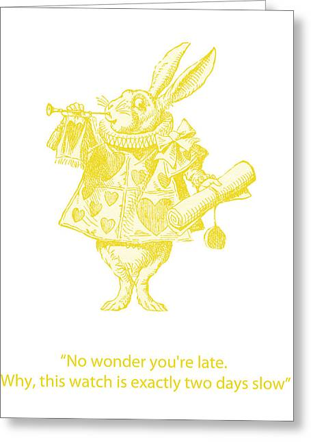 Arts In Wonderland Greeting Cards - A Punctual Rabbit Greeting Card by Nomad Art And  Design