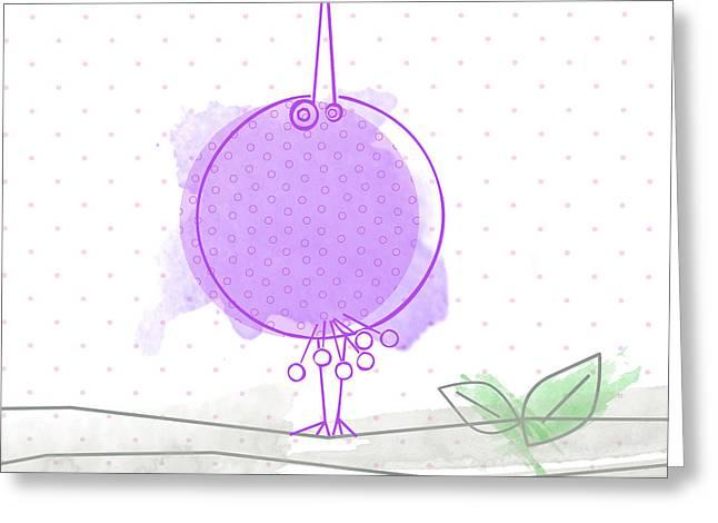 Baby Bird Digital Greeting Cards - A purple bird Greeting Card by Nomi Elboim