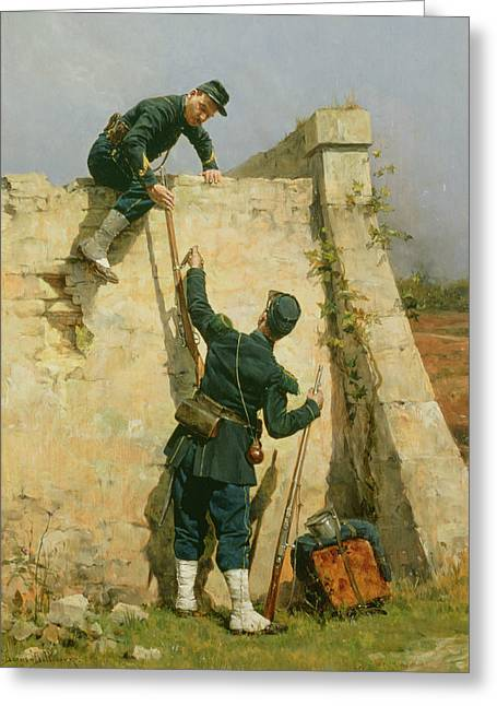 Climbing In Greeting Cards - A Quick Escape Greeting Card by Etienne Prosper Berne-Bellecour