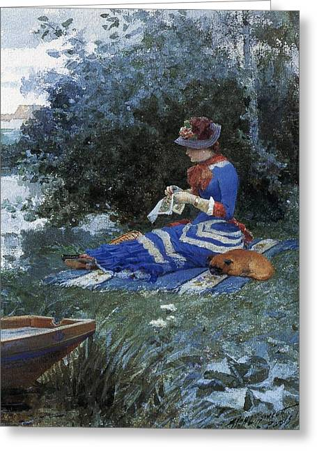 Sleeping Dogs Greeting Cards - A Quiet Afternoon Greeting Card by William Henry Lippincott