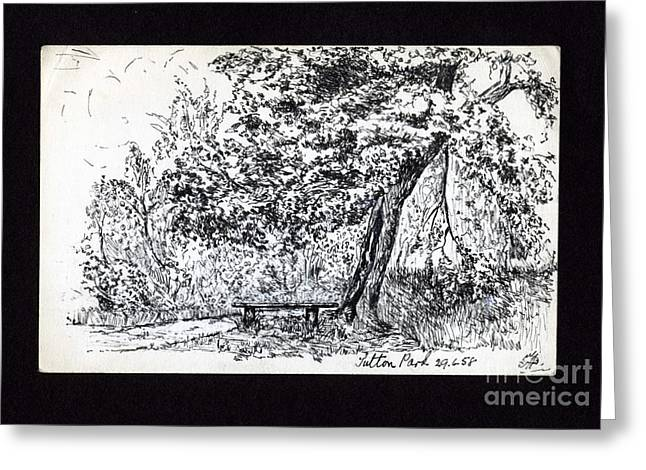 Park Scene Drawings Greeting Cards - A Quiet Corner 1958 Greeting Card by John Chatterley