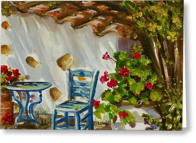 A Quiet Corner Greeting Card by Yvonne Ayoub