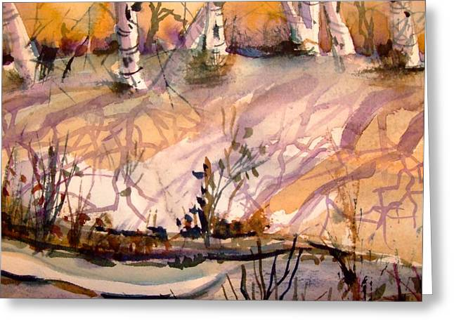 Brook Drawings Greeting Cards - A Quiet Light Greeting Card by Mindy Newman