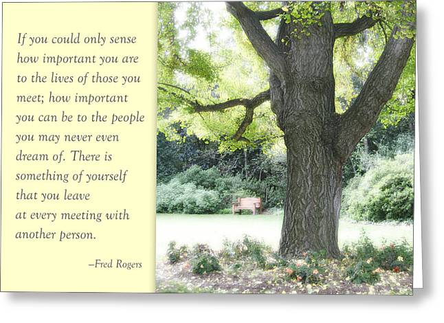 Mr. Rogers Greeting Cards - A Quote to Remember Greeting Card by Jan Cipolla