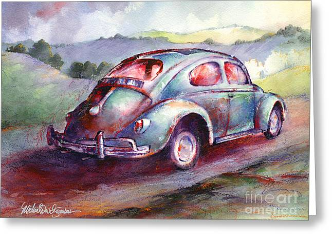 Vw Beetle Greeting Cards - A Rag Top Bug in Wine Country Greeting Card by Michael David Sorensen
