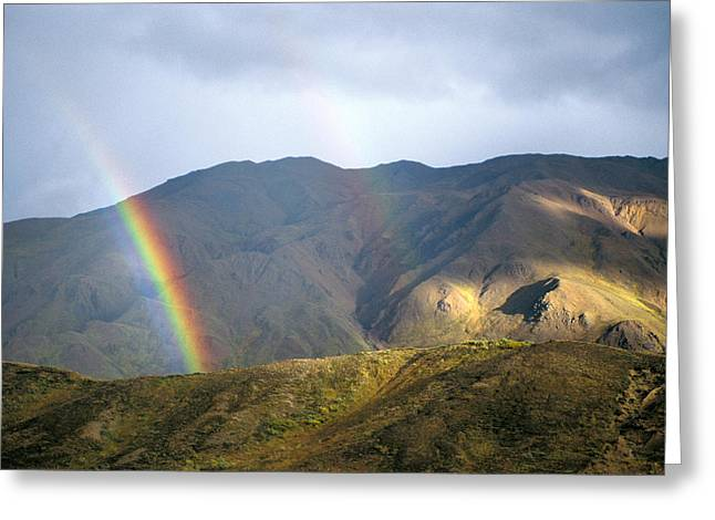 Alaska Scene Greeting Cards - A Rainbow Appears To Touch The Ground Greeting Card by Joel Sartore