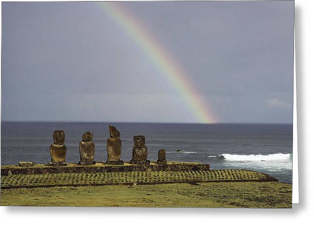 Devotional Photographs Greeting Cards - A Rainbow Arches Above Statues Carved Greeting Card by James P. Blair
