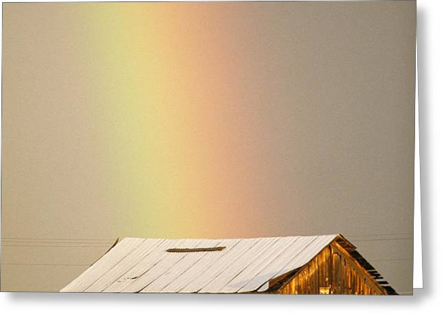 A Rainbow Arches From The Sky Onto Greeting Card by Michael S. Lewis