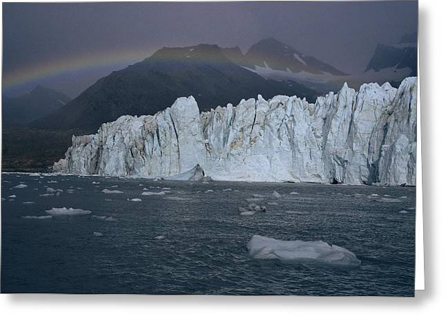 Harkers Greeting Cards - A Rainbow Over Harker Glacier, A Deeply Greeting Card by Maria Stenzel