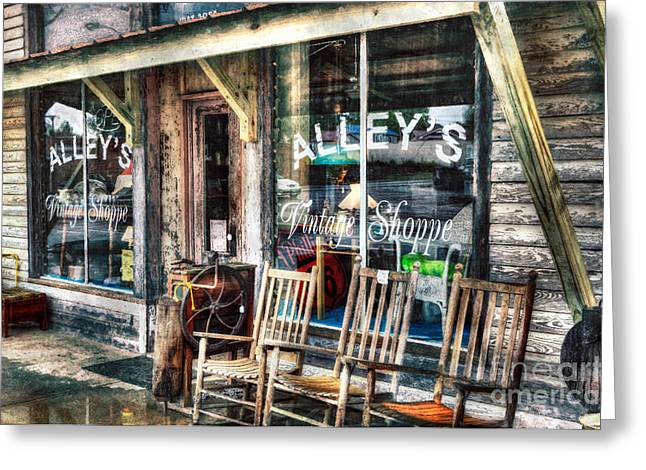 Artist Fashion Art Greeting Cards - A Rainy Day at the Vintage Shoppe II Greeting Card by Dan Carmichael