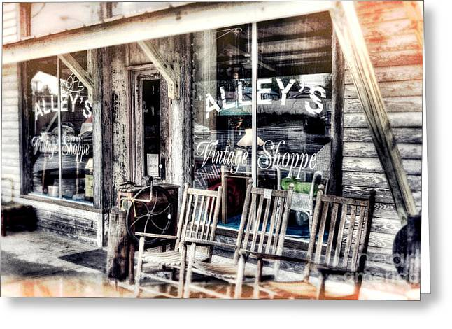 Artist Fashion Art Greeting Cards - A Rainy Day at the Vintage Shoppe III Greeting Card by Dan Carmichael