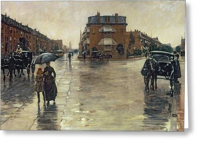 Carriage Greeting Cards - A Rainy Day in Boston Greeting Card by Childe Hassam