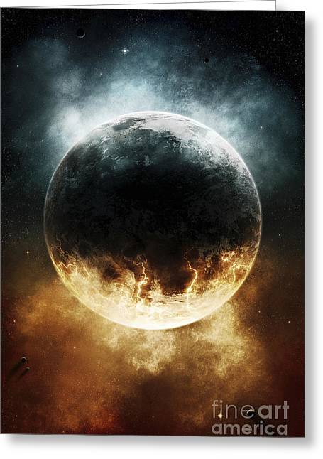 Cataclysm Greeting Cards - A Rare Planet Surrounded By A Cloud Greeting Card by Tomasz Dabrowski