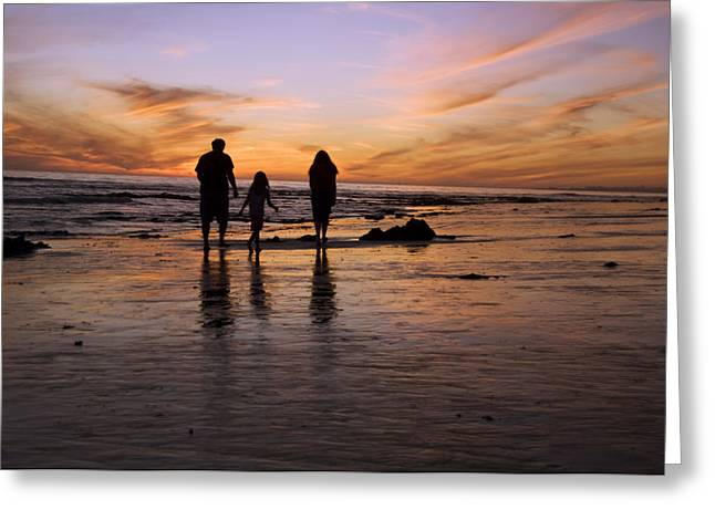 A Rear View Of A Family With One Child Greeting Card by James Forte
