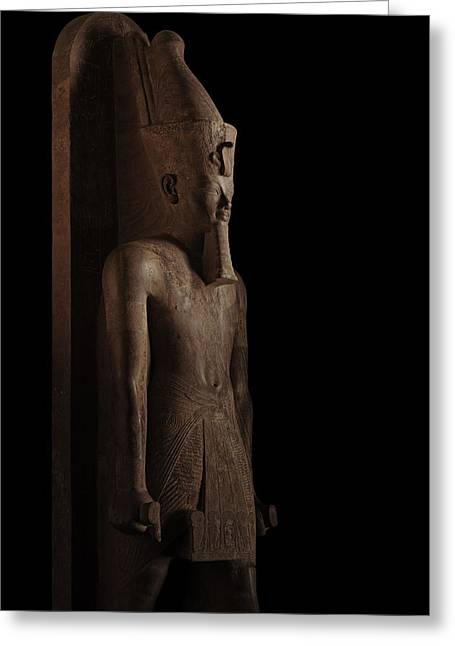 Pharaoh Greeting Cards - A Red Granite Lifesize Statue Of Tuts Greeting Card by Kenneth Garrett