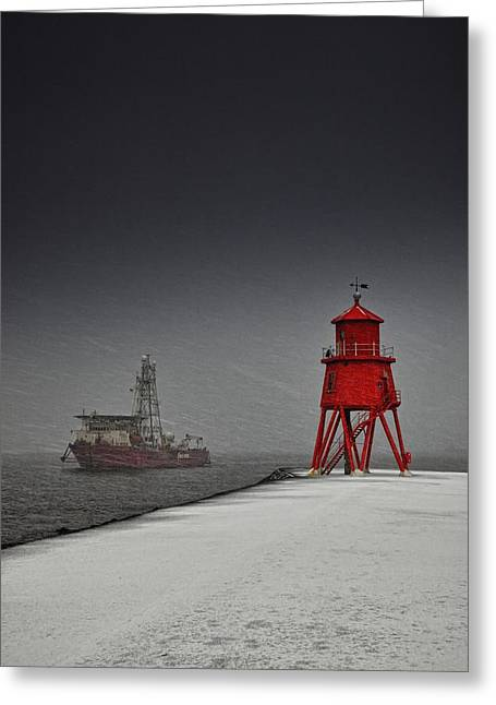 A Red Lighthouse Along The Coast In Greeting Card by John Short