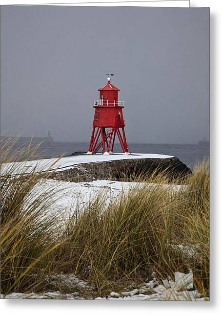 Snow-covered Landscape Greeting Cards - A Red Lighthouse Along The Coast South Greeting Card by John Short