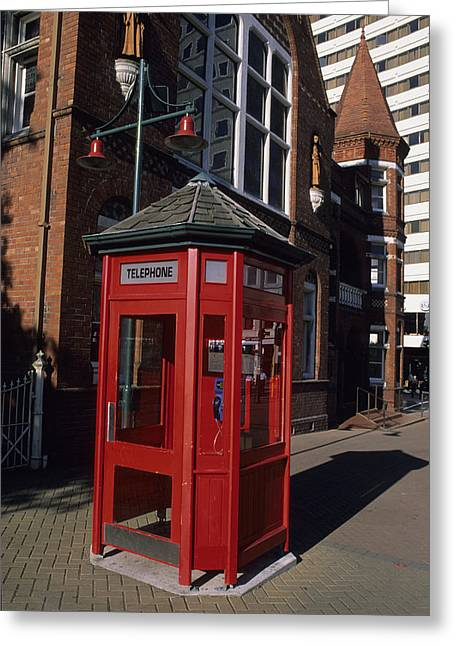 Old And New Greeting Cards - A Red Phone Booth And Victorian Greeting Card by Rich Reid