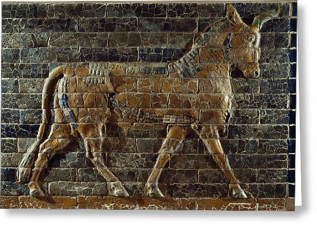 Babylon Greeting Cards - A Relief Depicts A Bull Greeting Card by Lynn Abercrombie