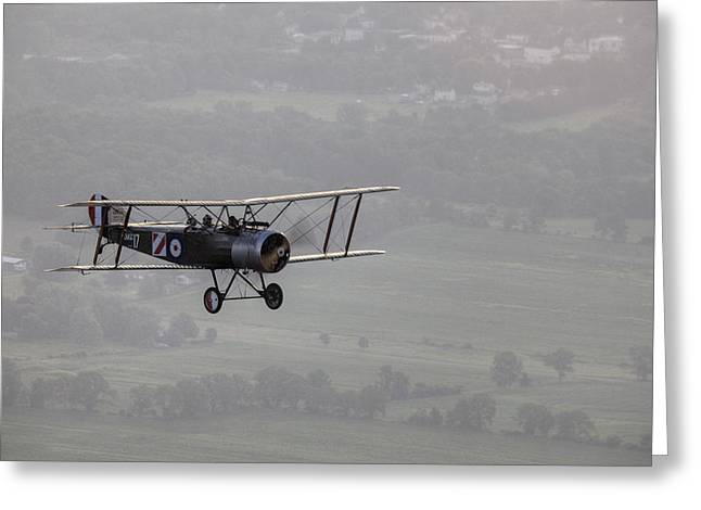 A Replica Sopwith 1-12 Strutter Greeting Card by Pete Ryan