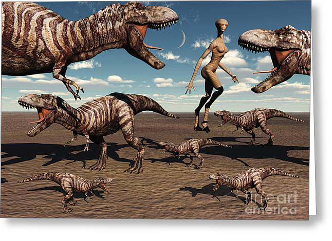 Scavengers Greeting Cards - A Reptoid Being And Her Pet Dinosaurs Greeting Card by Mark Stevenson