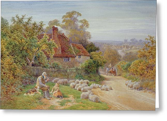 Sheepdog Greeting Cards - A Rest by the Way Greeting Card by Charles James Adams