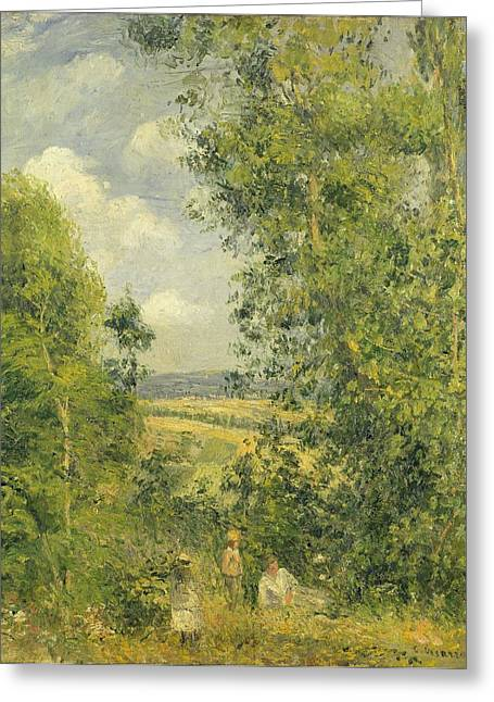 Camille Pissarro Greeting Cards - A Rest in the Meadow Greeting Card by Camille Pissarro