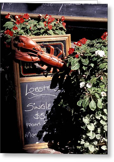 Menu Greeting Cards - A Restaurant Menu With Lobster Greeting Card by Richard Nowitz