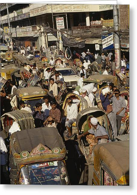Vehicle Of Life Greeting Cards - A Rickshaw Traffic Jam In Dhaka Greeting Card by Justin Guariglia