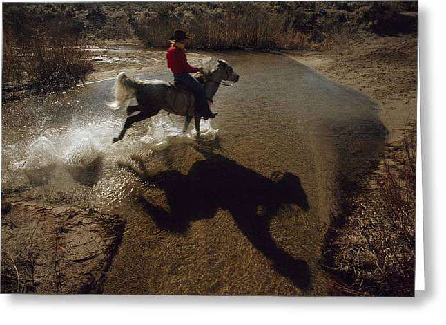 Express Greeting Cards - A Rider Retraces The Original Pony Greeting Card by Phil Schermeister