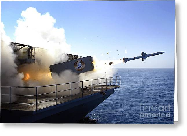 Anti-aircraft Greeting Cards - A Rim-7 Sea Sparrow Missile Launches Greeting Card by Stocktrek Images