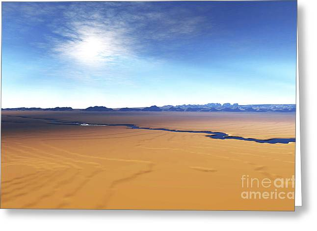 Creativity Desert Greeting Cards - A River Flows Through This Desert Greeting Card by Corey Ford