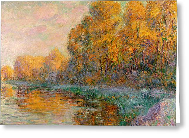 Best Sellers -  - Reflection In Water Greeting Cards - A River in Autumn Greeting Card by Gustave Loiseau