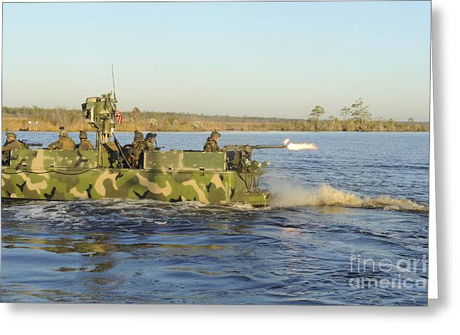 Virginia Beach Greeting Cards - A Riverine Squadron Maneuvers Greeting Card by Stocktrek Images