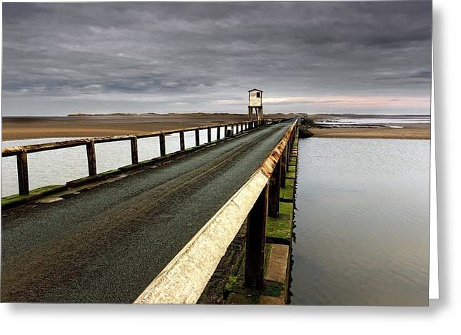 Short Sands Greeting Cards - A Road Going Over Water Towards A Beach Greeting Card by John Short